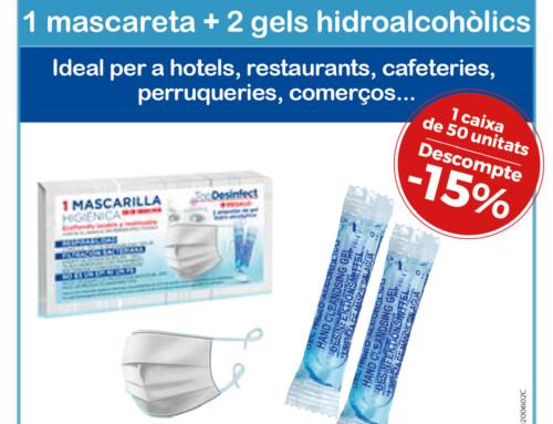 1 mascarilla + 2 geles hidroalcohólicos